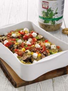 Couscous met gegrilde groenten, fetakaas en kruidenvinaigrette