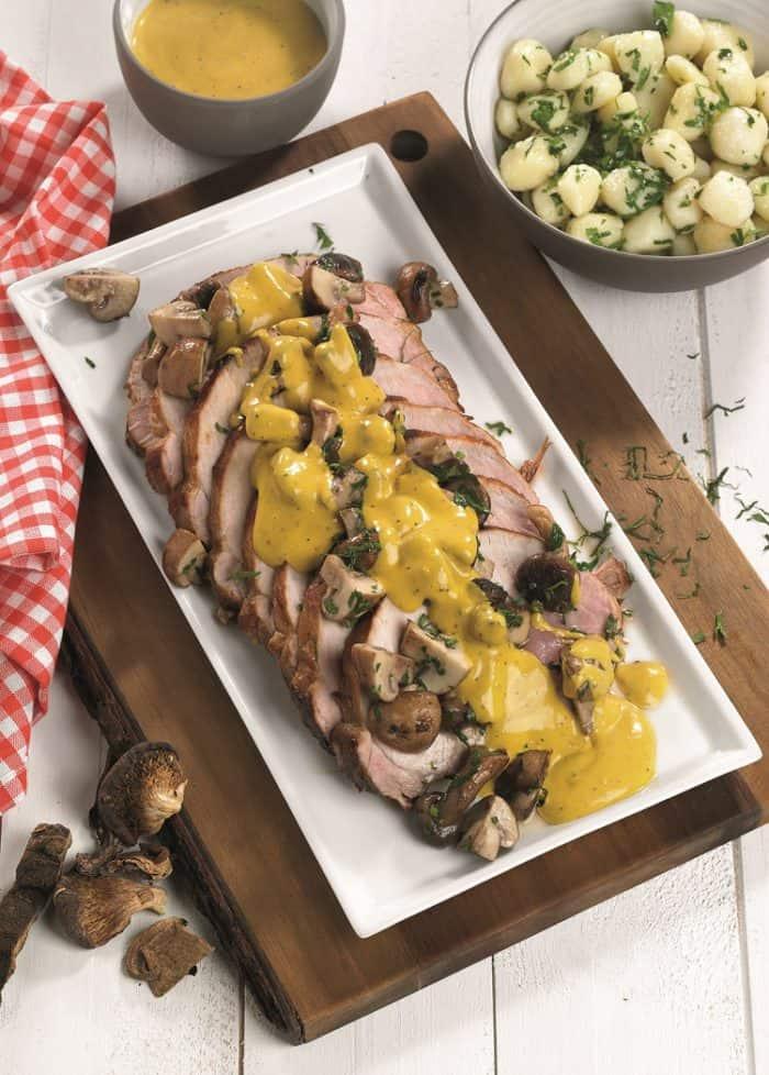 Varkensgebraad met gebakken champignons en krielaardappel